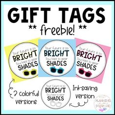 Gift Tags - End of Year Sunglasses FREEBIE