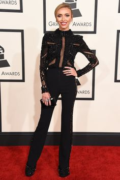 Pin for Later: See What Every Star Wore on the Grammy Awards Red Carpet Giuliana Rancic The E! news correspondent went for black trousers and an embellished sheer top.