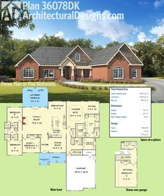 Architectural Designs Exclusive House Plan 36078DK gives you 3, 4 or 5 bedrooms: you decide! Ready when you are. Where do YOU want to build?