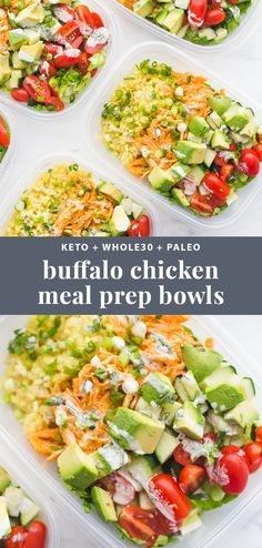 This buffalo chicken ranch meal prep is meal prep perfection! Totally loaded with flavor, protein, healthy fats, and fiber, this meal prep is the best way to go into lunch swinging. With cauliflower rice and homemade ranch… Read more › Meal Prep Bowls, Easy Lunch Meal Prep, Easy Healthy Meal Prep, Meal Prep For The Week Low Carb, Meal Prep Dinner Ideas, Best Meal Prep, Meal Preparation, Low Carb Dinner Meals, Healthy Lunch Meals