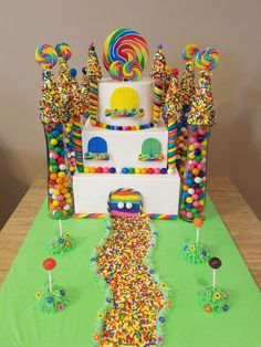 Castle Birthday Cake Blue Candy castle cake for several kids with