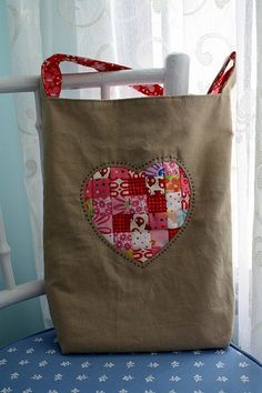 Bag using the tutorial for stitched in color class with reverse appliqué + patchwork
