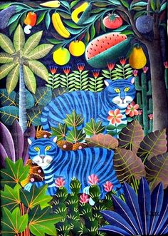 Chats Bleus et Fruits by Gabriel Alix | The Electric Gallery - Egallery - Fine Art - The Art Shopping Source