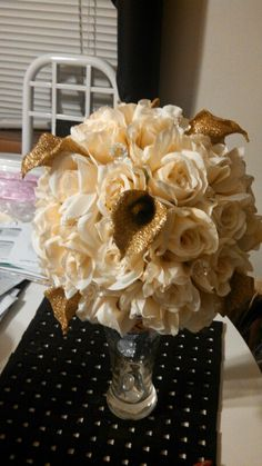 Ivory and gold Bridal Bouquet