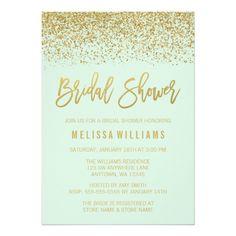 Modern Mint Green Faux Gold Glitter Bridal Shower