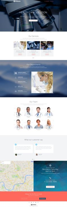 Medical landing page template with page builder