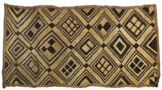 Africa | Kuba people, DR of Congo | Raffia Pile cloth | Plain woven; cut pile stitch; embroidered
