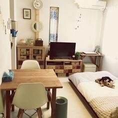 Apartment Interior, Apartment Living, Room Interior, Interior Design, Studio Apartment, Small Room Bedroom, Home Bedroom, Bedroom Decor, Minimalist Room