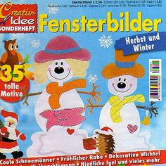 Fensterbilter Herbst und Winter Country Primitive, Christmas Books, Christmas Crafts, Crafts To Make, Crafts For Kids, Snow Crafts, Pintura Country, Painted Books, Album