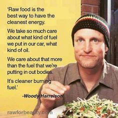 Woody Harrelson on Raw Food. Somebody make me a grocery list then. The part where I fail is making a list of what to buy