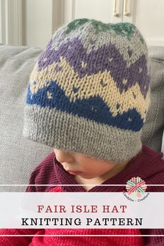 Knit up a hat using your leftover yarn! Pattern links, yarn and needle recommendations. Knitting For Kids, Knitting Projects, Baby Knitting, Headband Pattern, Beanie Pattern, Fair Isle Knitting Patterns, Crochet Patterns, Kids Beanies, I Love This Yarn