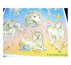 These were some of my favorites!  Vintage Hallmark Unicorn Sticker Sheet 80's.