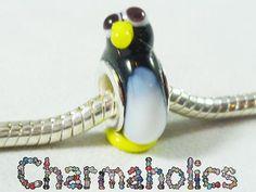 Charmaholics Black PENGUIN European Glass Bead Charm Handmade Y137 | eBay