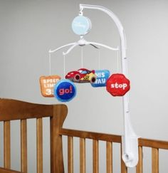 Disney Infant Boy's Cars Themed Musical Mobile Disney Musical Mobile. Boys will love it!. Cars. Go!, Stop, This Way, Speed Limit signs. Colorful and Fun!.  #Disney #Baby_Product