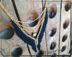 """V for Variations"", Black long V necklace"