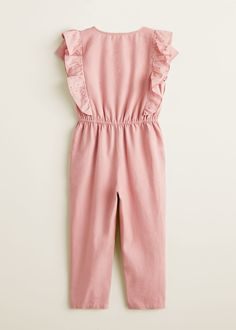 Cotton fabric Straight fit Ruffled short sleeve Openwork details Elastic waist Two side pockets Button fastening on the front section Jumpsuits For Girls, Long Jumpsuits, Rompers Women, Dresses Kids Girl, Girl Outfits, Fashion Outfits, Stylish Dress Designs, Stylish Dresses, Baby Girl Names Spanish