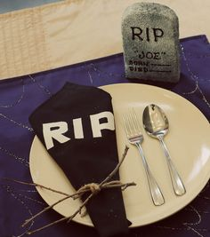 A spooky graveyard place setting is the perfect touch for your Halloween meal!