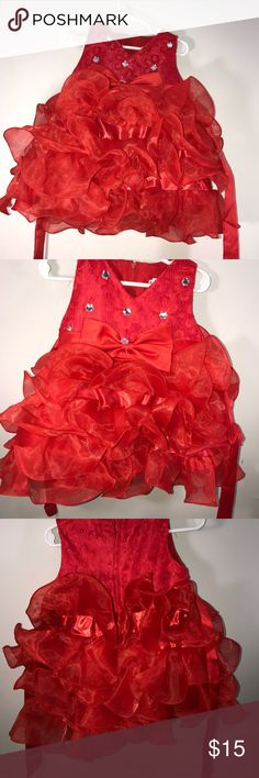 ⭐️⭐️HOst Pick⭐️⭐️ dress with stunning stones V-neck red dress, the flairs are beautiful. My daughter never wore them and had it stored away so the stone on the bow has loosened. Dresses Casual