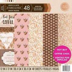 Craft Smith - Love U A Latte 48 sheets 12x12 Scrapbook, Cardmaking, Home Decor Paper, Coffee, Gold Foil