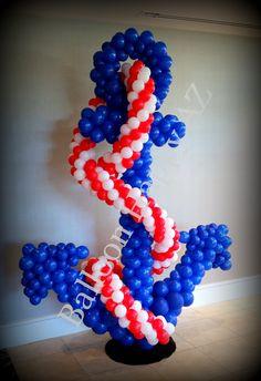 Nautical theme anchor balloon sculpture birthday for Anchor balloon decoration