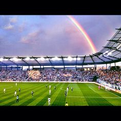 At the end of the rainbow. Sporting Kansas City, Rainbow Photo, City Life, Missouri, Places To Go, Favorite Things, Soccer, Game, Awesome