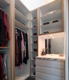 Closet built in for organization.
