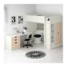 STUVA Letto soppalco/3 cassetti/2 ante - bianco/betulla - IKEA