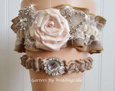 Glam Burlap Wedding Garter Set Burlap and Crystal by Weddingzilla Wedding Garter Set, Vintage Lace, Corsage, Wedding Accessories, Wedding Styles, Brides, Burlap, Weddings, Crystals