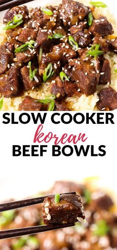 This Slow Cooker Korean Beef is one of the most tender, melt in your mouth meals you will ever make! The best part it ju Korean Beef Recipes, Slow Cooker Korean Beef, Korean Beef Bowl, Roast Beef Recipes, Beef Recipes For Dinner, Mexican Food Recipes, Korean Chicken, Korean Bbq, Crockpot Recipes Asian