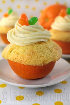 Orange Rind Cupcakes ½ cup butter ¾ cup sugar Zest of 2 oranges 2 eggs ½ teaspoon vanilla ½ teaspoon orange tea oil (opt. Baking Cupcakes, Yummy Cupcakes, Cupcake Cookies, Cupcake Recipes, Dessert Recipes, Yummy Treats, Sweet Treats, Yummy Food, Orange Cupcakes