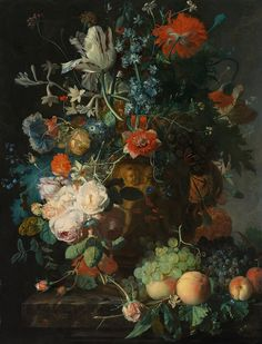 "Jan van Huysum : ""Still Life with Flowers and Fruit"" - Giclee Fine Art Print Dutch Still Life, Google Art Project, Different Types Of Flowers, Still Life Flowers, Big Flowers, Dutch Painters, Old Paintings, European Paintings, Flower Wallpaper"