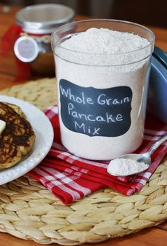 Whole Grain Pancake Mix ~ whip up your own pancake mix at home.  And make it whole grain, too!   www.thekitchenismyplayground.com