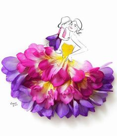 Grace ciao is a fashion illustrator residing in Singapore, who creates alluring designs using real flower petals. Grace loves flower petals, design paints, sketches and illustrations of different t… Grace Ciao, Fashion Drawing Dresses, Fashion Illustration Dresses, Dress Fashion, Fashion Illustrations, Dresses Art, Floral Dresses, Drawing Fashion, Fashion Sketches