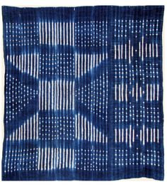 Africa | Wrapper from Mali.  Cotton panels make up of narrow strips, indigo resist dyed | Mid 20th century