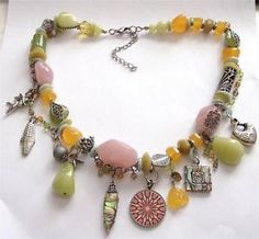 VINTAGE 80'S GREEN PINK LUIITE MOTHER OF PEARL SNAKE CHARM STATEMENT NECKLACE