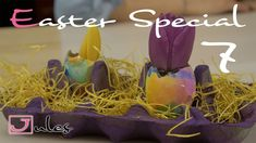 Very easy to do Easter/Spring DIY Für die deutsche Beschreibung einfach runter scrollen.  All you need ist: tulips (or other spring flowers of your choice) potting Soil eggs colored tissue paper water paintbrush  Put the tissue paper on the egg shells in what ever way you like and wet them with your paintbrush. Wait for about 10-20 minutes. Take off the tissue paper.  Put soil in your egg shells. Put flowers in. Water (you need to water the tulips on a regular basis to make them last as long…