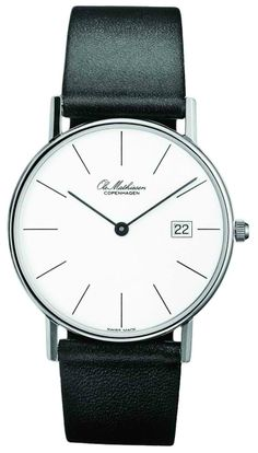 All Ole Mathiesen watches are assembled by the company's two full-time watch makers in Switzerland including the ultra thin Ole Mathiesen Classic timepiece. Cool Watches, Watches For Men, Elegant Watches, Stainless Steel Case, Luxury Watches, Omega Watch, Quartz, Black Leather, Crystals