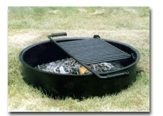 Fire Pit Ring/Campfire Ring w/Cooking Grate, 30 diam x 7 H, Staple