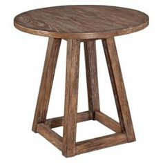 """Rubber wood lamp table with cathedral oak veneers and a square, pyramid base.  Product: Lamp tableConstruction Material: Cathedral oak veneers and rubberwood solidsColor: Weathered minkDimensions: 23"""" H x 24"""" Diameter"""
