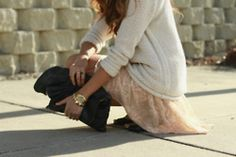 Sweater over a dress!-- can't get enough of this trend since I started wearing it last fall : )