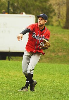 Aaron Tveit in a baseball uniform? I'll take it.