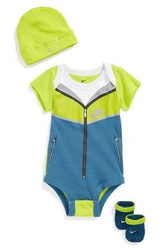Nike 'Windrunner' Bodysuit, Booties & Cap (Baby Boys)