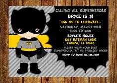 Batman Birthday Party Invitation Digital File by InvitesByChristie, $14.00