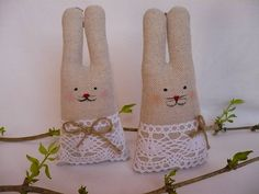 Dekorácie - Zajačiky s krajkou - 5223103_