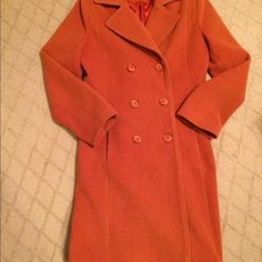 Coat, burnt orange over coat Excellent condition.  Size 8ish, label says M. Mikai Jackets & Coats Trench Coats