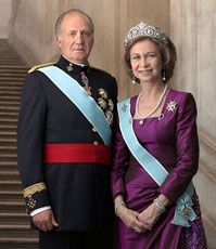 Queen Sofia of Spain wearing the Cartier Diamond and Pearl Tiara