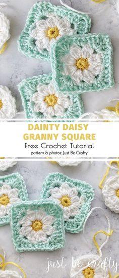 Dainty Daisy Granny Square Free Crochet Tutorial Daisy Granny Square Ideas and . Dainty Daisy Granny Square Free Crochet Tutorial Daisy Granny Square Ideas and Patterns. Bag Crochet, Crochet Daisy, Crochet Motifs, Crochet Blocks, Granny Square Crochet Pattern, Crochet Squares, Crochet Blanket Patterns, Crochet Crafts, Crochet Flowers