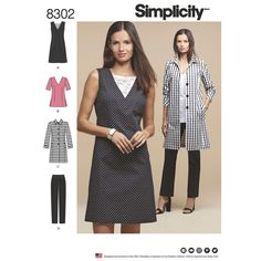 Misses' and Plus Size clean and classic wardrobe includes a top, slim fit pants, and a stylish unlined coat. The top can be made to wear as a dress with a left side slit, or as a tunic with side slits. Simplicity sewing pattern.