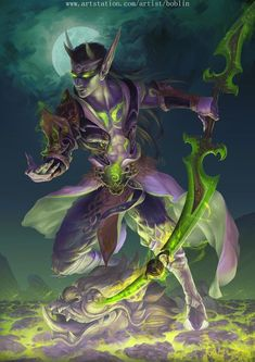 Dark Fantasy, Fantasy Rpg, World Of Warcraft 3, Warcraft Art, Medieval, Night Elf, Heroes Of The Storm, Image Fun, Demon Hunter