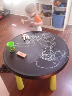Better to have a table with chalk paint than a wall... This way they don't get confused and start painting on all the walls, even the ones with regular paint!!